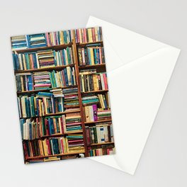 Bookshelf with Colourful Books Stationery Cards