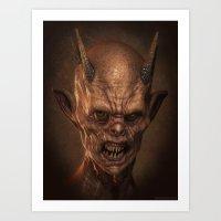 demon Art Prints featuring Demon by Monster Faces Creature Prints