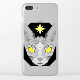Sphynx Cat Black Pattern Clear iPhone Case
