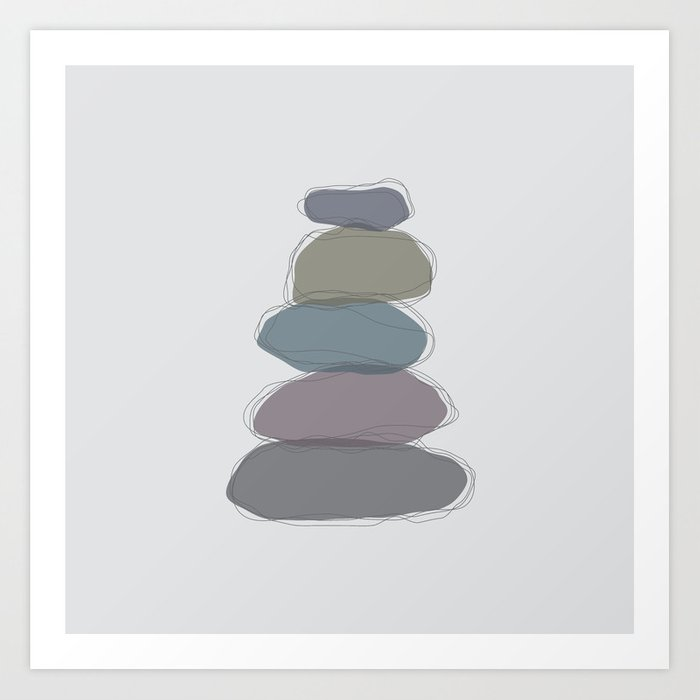 Five Stacked Colorful Zen Rocks Art Print By Studio 322 Society6