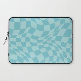 Warped Checkered Pattern in Aqua Mint Ocean Blue, Trippy Check Liquid Swirl, Wavy Checkerboard Laptop Sleeve