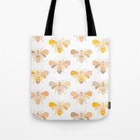 bees Tote Bags featuring Bees by Heleen van Buul