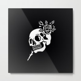 Tattoos style skull and flower Metal Print