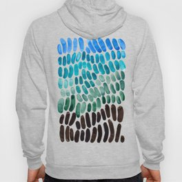 Blue Teal Turquoise Watercolor Abstract Organic Pattern MInimalist Abstract Colorful Pattern Natural Hoody