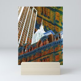 New York City Up Is Down Down Is Up Orange Mini Art Print