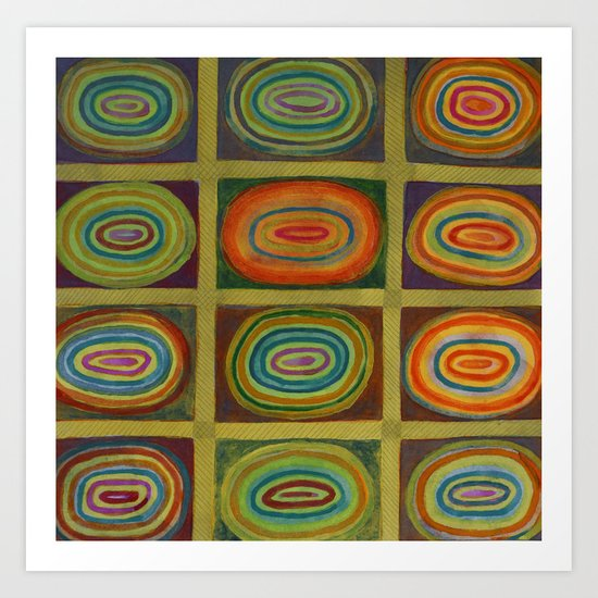 Ringed Ovals within Hatched Grid Art Print