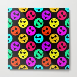Smiley Bikini Bright Neon Smiles on Black Metal Print