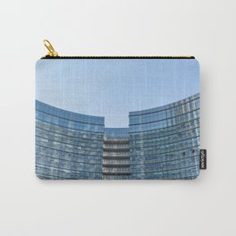 three workers work to clean the windows of a large skyscraper in Milan Carry-All Pouch