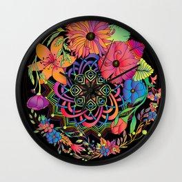 Neon Mandala and Flowers Wall Clock