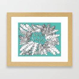 Boss Lady     Botanical in Turquoise Framed Art Print