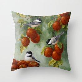 Chickadees and Apple Tree Harvest Throw Pillow