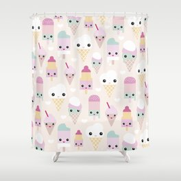 Cute kawaii summer Japanese ice cream cones and popsicle p Shower Curtain
