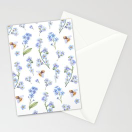 Cute hand painted brown bee lavender watercolor floral Stationery Cards