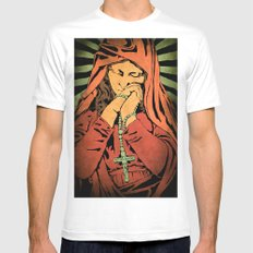 Virgin Mary (In color) White MEDIUM Mens Fitted Tee