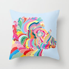 Goat in Rainbow Throw Pillow