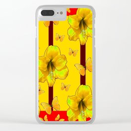 """FOR THE LOVE OF BUTTERFLIES"" RED-YELLOW ART Clear iPhone Case"
