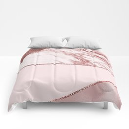 Spliced mixed pinks rose gold marble Comforters