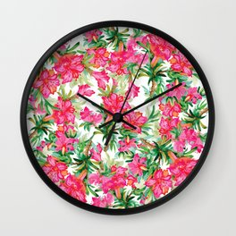Pink Painting flowers Wall Clock