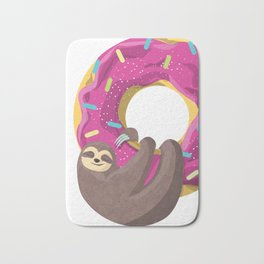 Cute sloth hanging from the donut Bath Mat