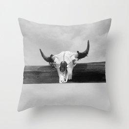 Bull Head Black and White Throw Pillow