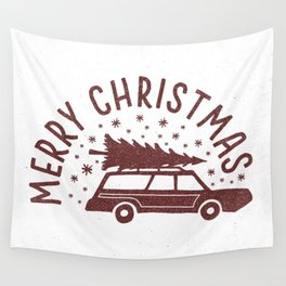 Merry Christmas Station Wagon Wall Tapestry
