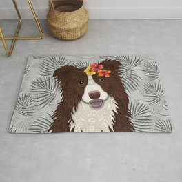 Tropical Brown Border Collie Girl Rug