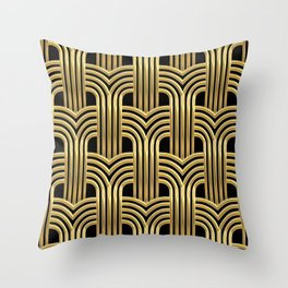 3-D Art Deco Sultry Cuban Nights Gold Pattern Throw Pillow