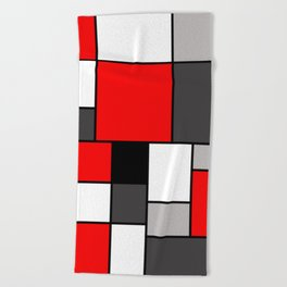 Red Black and Grey squares Beach Towel