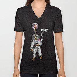 Giraffe astronaut Unisex V-Neck