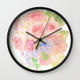 Garden Bouquet Watercolor Wedding Pink Roses Wall Clock