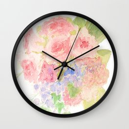 Garden Bouquet Watercolor Wedding Pink Roses Wall Clock