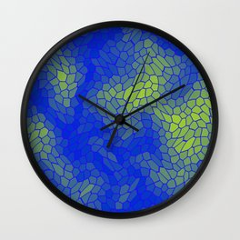 Stained glass texture of snake blue leather with Iridescent heat spots. Wall Clock