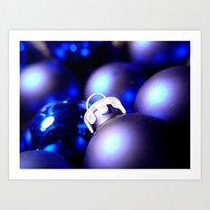 Christmas Ornaments : Blue Christmas Art Print