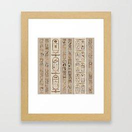 Egyptian hieroglyphs Pastel Gold Framed Art Print