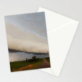 Shelf Cloud Over Country Road 2 Stationery Cards