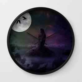 Dark Feather Wall Clock