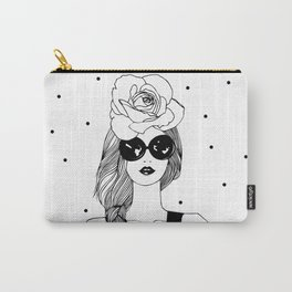 Beautiful girl. Black and white fashion illustration Carry-All Pouch