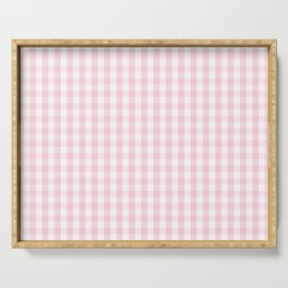 Light Soft Pastel Pink and White Gingham Check Plaid Serving Tray