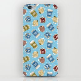Cozy Mugs - Bg Blue Wood iPhone Skin