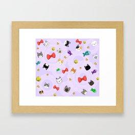 Cat Pattern Purple Framed Art Print