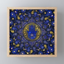 Hamsa Hand -Hand of Fatima Dot Art Lapis Lazuli and gold Framed Mini Art Print