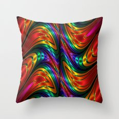 Fractal Silk and Metal Colors Waves Throw Pillow