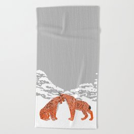 Lynx - Winter Forest Beach Towel