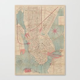 Vintage Map of Boston MA (1882) Canvas Print