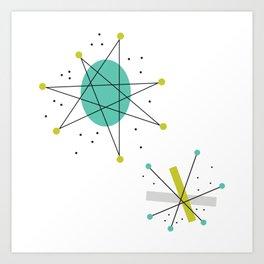 Teal Mid Century Modern Atomic Age Pattern Art Print