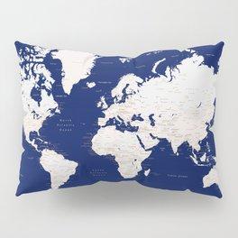 "Navy blue and light brown detailed world map ""Gavin"" Pillow Sham"