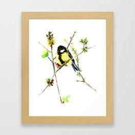 Spring nature colors,Bird art, great Tit, yellow spring bird Framed Art Print