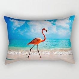 Amazing Awesome Pink Flamingo Walking Along Beach Ultra HD Rectangular Pillow