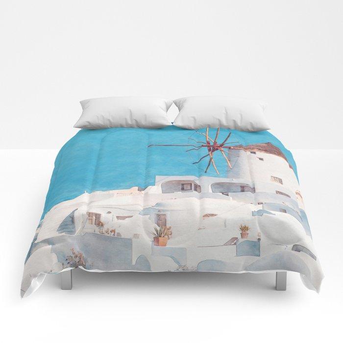 Mediterranean journey-Santorini Comforters