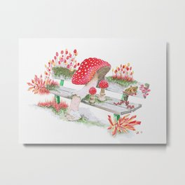 Mushrooms on a Public Bench | Surrealistic Watercolor Painting by Stephanie Kilgast Metal Print
